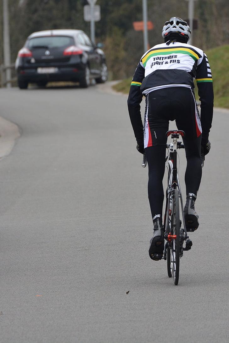 professional road bicycle racer, cyclist, climb, sports, car, traffic