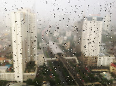 rain, rainy, raindrops, window, city, urban, high rise