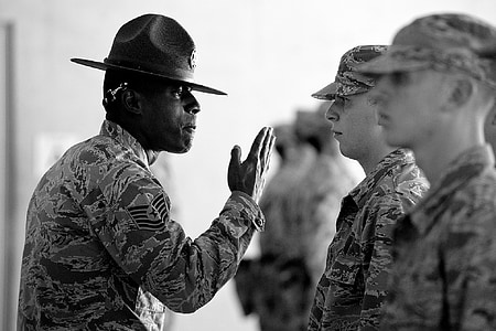 military, training instructor, air force, recruits, usa, instructions, emotional