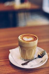 kabur, Sarapan, kafein, cappuccino, Close-up, kopi, cangkir kopi