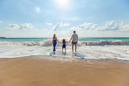 platja, família, diversió, oci, oceà, relaxació, sorra