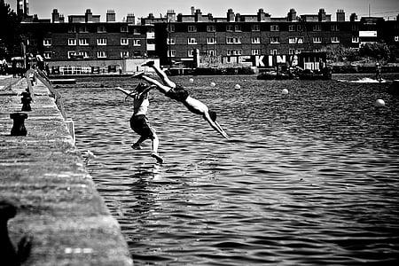 dive, plunge, water, jump, fun, summer, refreshing