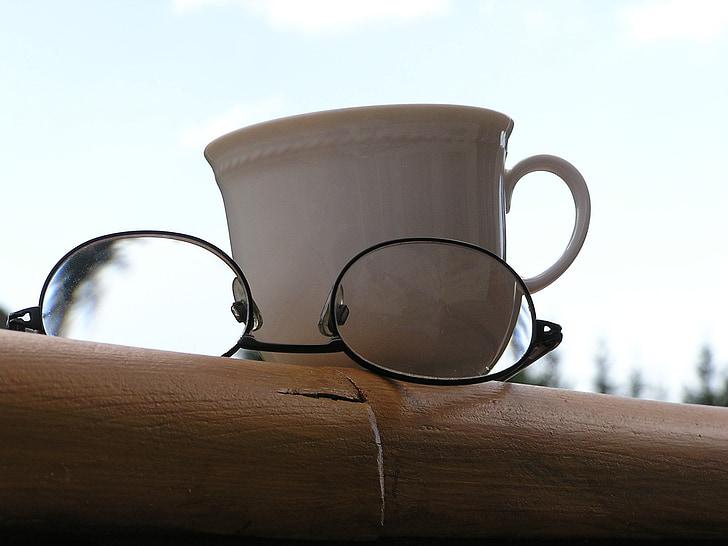 relaxació, Copa, ulleres, tassa de cafè