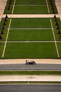 home, fixació, cotxe, cotxes, herba, esport, vista d'angle alt