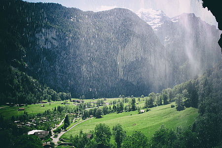 mountain, nature, waterfall, mountain landscape, landscape, mountaineering, clouds