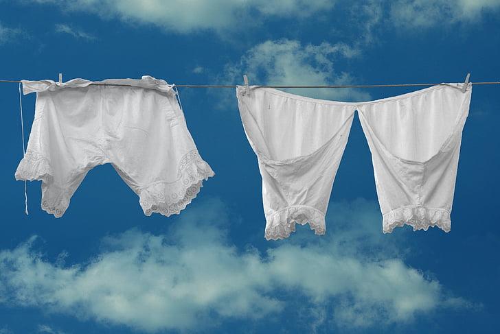 püksid, aluspesu, nostalgia, varem, valge, pesta, peseb