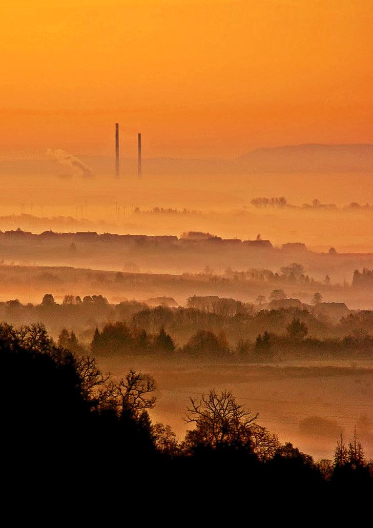 Kraków, öster, morgon, dimma, landskap, soluppgång, solnedgång