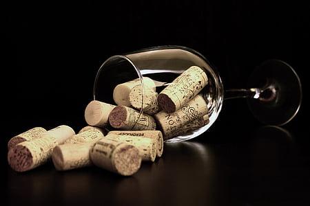 cork, lids, long, stem, clear, wine, glasses