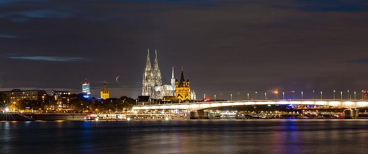 Dom, Cologne, Landmark, sông Rhine, buổi tối, Nhà thờ Cologne cathedral, Nhà thờ