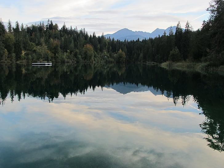 Λίμνη cresta, abendstimmung, Λίμνη, δέντρα, έλατα, φύση, σούρουπο