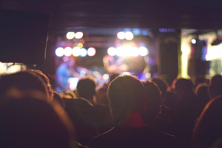 folk, partiet, feiring, publikum, mørk, natt, scenen