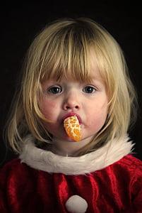 dekle, portret, božič, oranžna, otroci, otrok, jedo