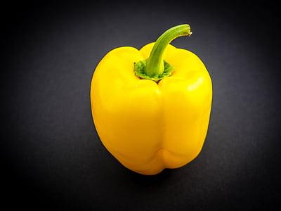 dzeltenā paprika, paprika, dārzeņi, dzeltena, pārtika, veselīgi, pipari