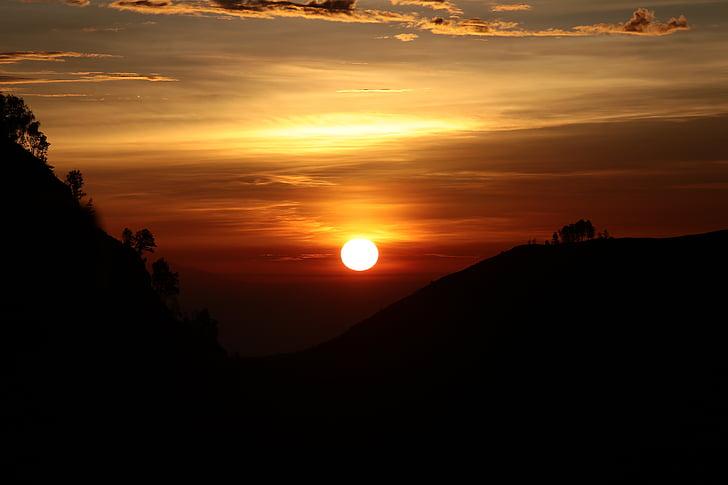 solnedgång, Orange, bollen, glöd, disk, scen, kvällen