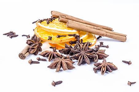 kayu manis, rempah-rempah, dibumbui, cengkeh, tongkat, dekorasi, dingin