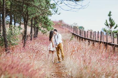 parell de petons, matrimoni, retro, d'amor, l'amor, assaig del casament, anyada