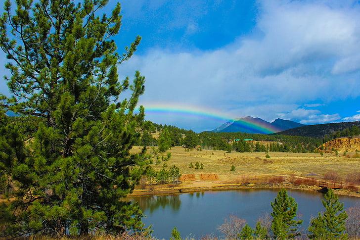 Arc de Sant Martí, Colorado, l'aigua, muntanya, cel, colors, vibrants