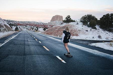 asfalt, longboard, persona, carretera, monopatí, patinador, dona