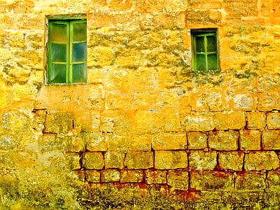 gamle veggen, gamle Vinduer, bakgrunn, vegg, gamle, vinduet, varme farger