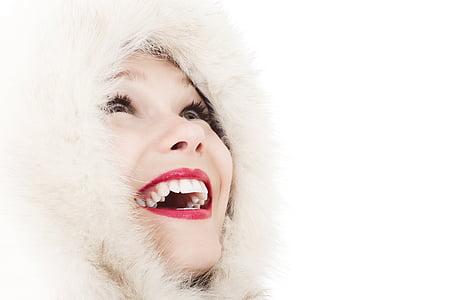 beautiful, face, fashion, female, fur coat, girl, happy