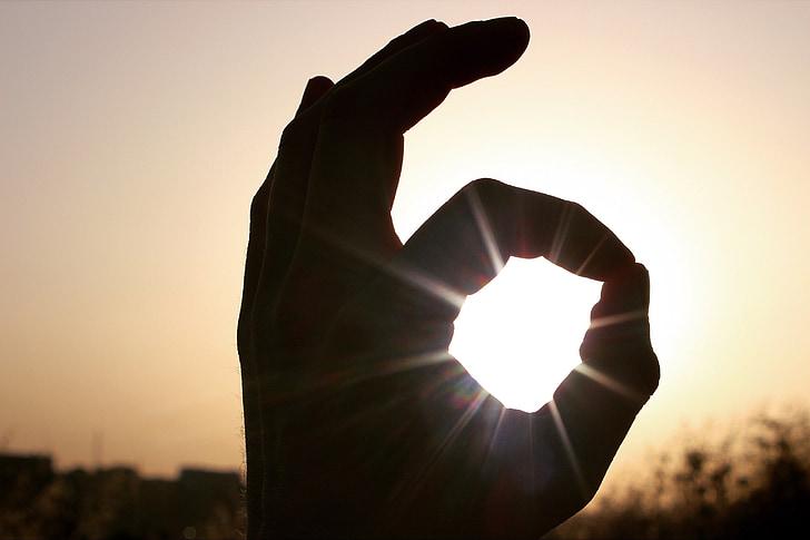 parfait, mains, silhouette, coucher de soleil, tombée de la nuit, ombre, arrière allumé
