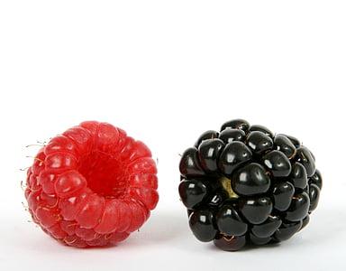 jagoda, czarny, BlackBerry, Blueberry, śniadanie, zbliżenie, Kolor