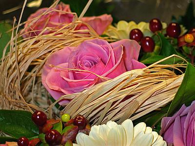 bouquet, flowers, bouquet of flowers, roses, pink, vase, bouquets