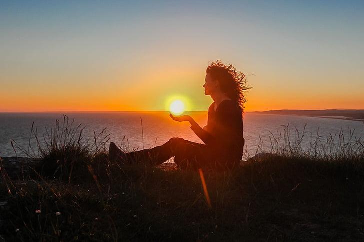 siluett, Sunset, Tüdruk, Ocean, üks inimene, üks naine, Beach