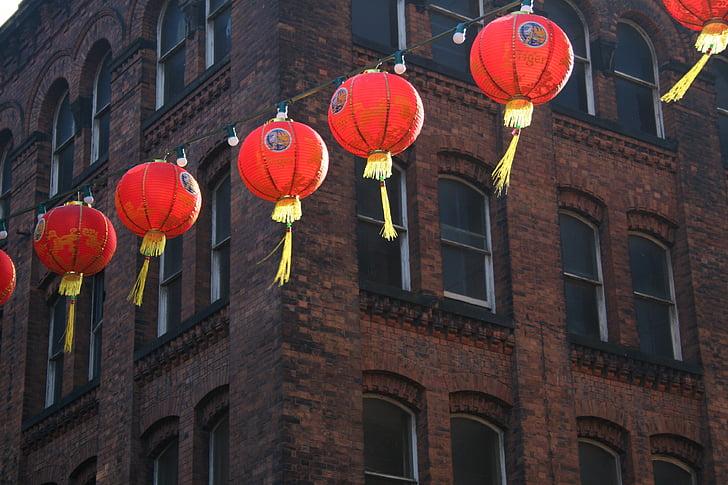 any nou xinès, fanalets xinesos, Chinatown, xinès, nou, llanterna, l'any