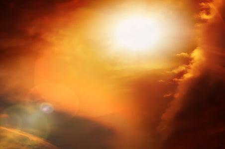 Sky, nap, felhők, fény, pokol, vissza a fény, természet