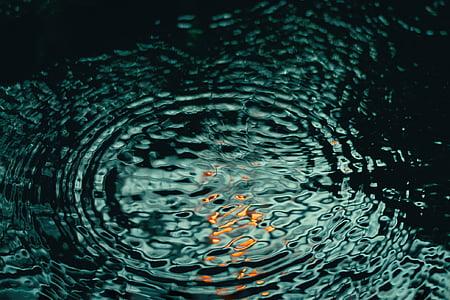 Příroda, voda, vlnky, reflexe, zelená, kapalina, Abstrakt