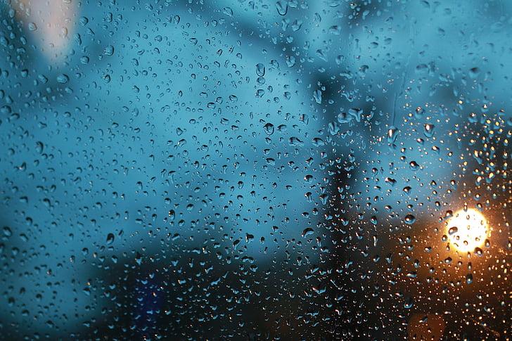 gocce di pioggia, vetro, Re di pioggia, it's raining