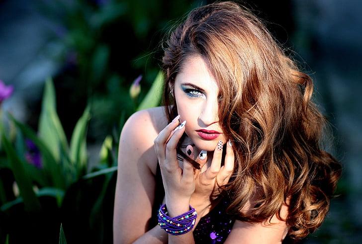 djevojka, plavuša, plave oči, portret, ljepota