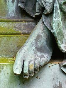 pie, mujer de los pies, estatua de, piedra, bronce, Figura, humano