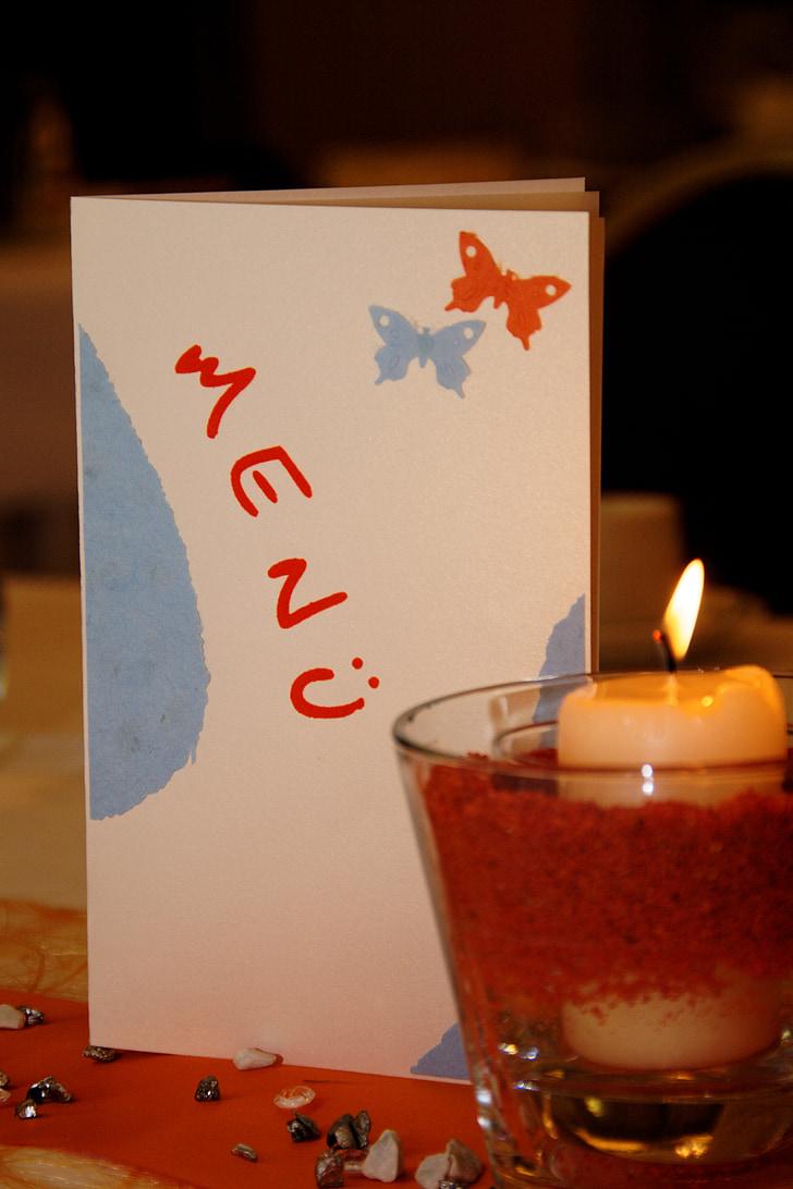 menüü, kaarti, Restoran, kaetud, Tabel, menüü kaardid, laua kaunistused