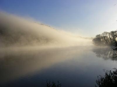 fog, landscape, water, river, mood, landscapes, water reflection