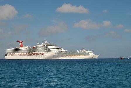 kryssningsfartyg, semester, Karibien, kryssningsfartyg, havet, nautiska fartyg, passagerarfartyg