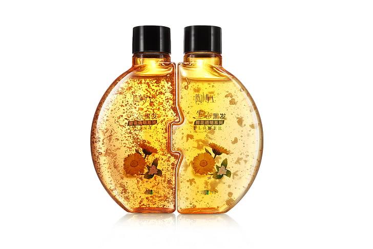 Xampú, líquid, ampolla, tub, groc, or, l'aigua