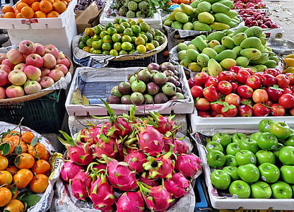 Vietnam, Pazar, meyve, sebze, Etal, egzotik, egzotik meyveler