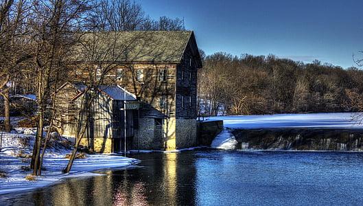 grist mill, building, stream, architecture, winter, snow, cold