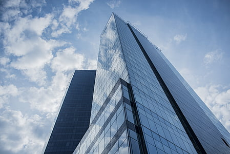 buildings, glass, reflection, perspective, clouds, sky, urban