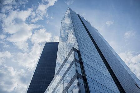 hoonete, klaas, peegeldus, perspektiivi, pilved, taevas, Urban