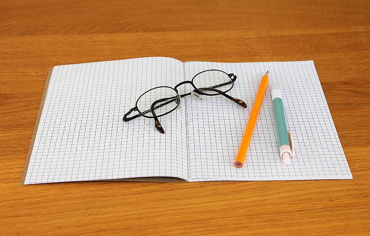 Nota, Llibreta, estris d'escriptura, llapis, Bolígraf, ulleres, escriure