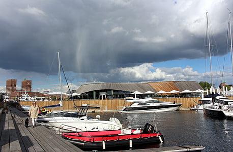 Oslo, Norge, hamn, Oslofjorden, staden, Stadshuset, sommar