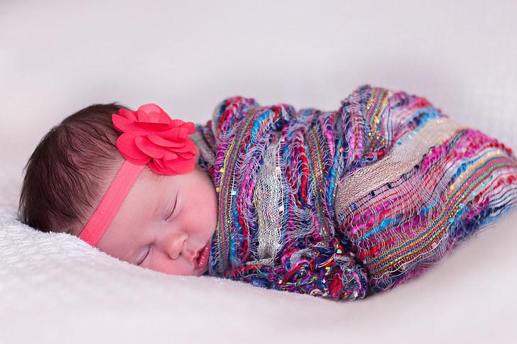 newborn, girl, baby, sleeping, innocence, child, cute
