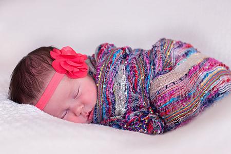 nadó, noia, nadó, dormint, innocència, nen, valent