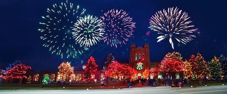 คริสมาสต์, คริสต์มาส, ไฟ, ไฟคริสต์มาส, ตกแต่ง, ฮอลิเดย์, เทศกาล