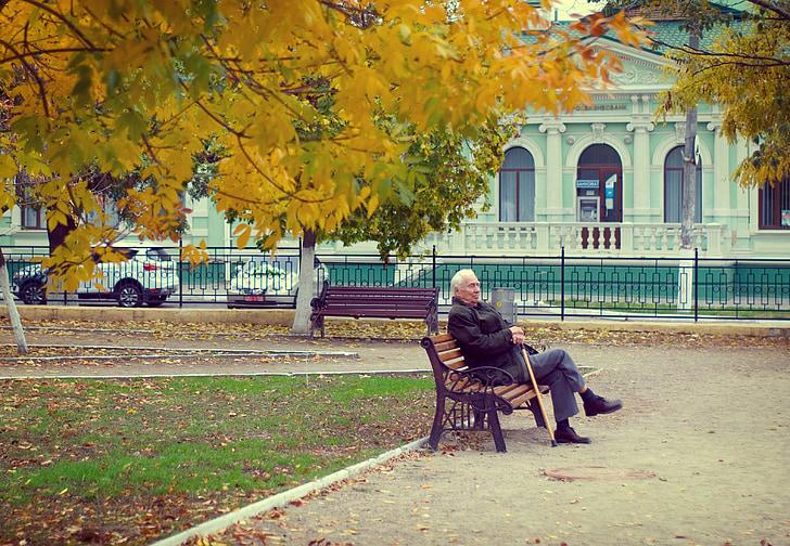 pensionārs, vecais vīrs, rudens, sols, cilvēki, ārpus telpām, sievietes