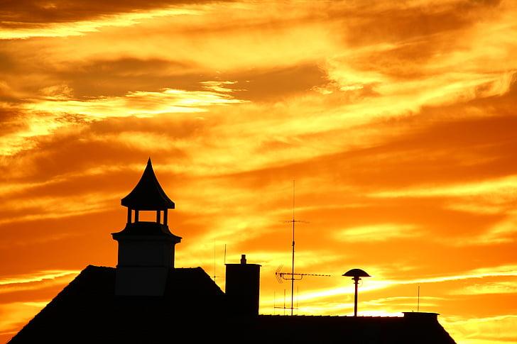 capvespre, vermell, posta de sol, resplendor, silueta, color taronja, edifici exterior