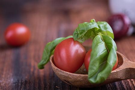 paradajky, malé paradajky, červená, bazalka, Zelená, korenie, bylinky